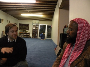 Frankie interviewing Imam Yahye Omar in Buffalo