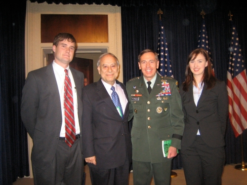 Left to Right: Jonathan Hayden, Ambassador Ahmed, Genral Petraeus and Hailey Woldt